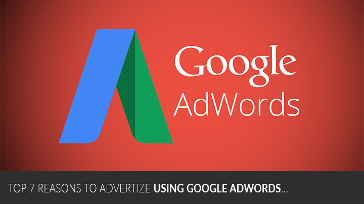 A picture of the Google AdWords logo on a red background with the text Top 7 Reasons to Advertise Using Google AdWords written at the bottom