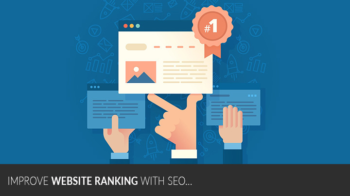 Image of hand holding up a web page with a #1 website ranking ribbon attached to it with the words Improve Website Ranking with SEO written at the top